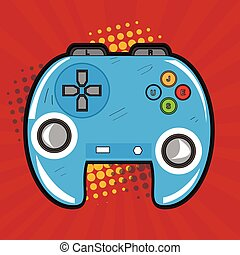 Isolated videogame joystick on a colored background, Vector...