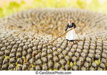 Farming toy woman - A farming toy woman on a middle of a...