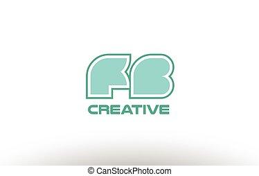 pastel green alphabet letter fb f b combination joint logo...
