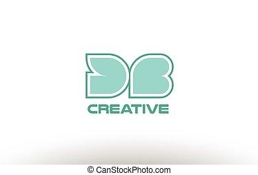 pastel green alphabet letter db d b combination joint logo...