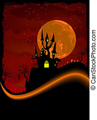 Scary Halloween Castle with Copy Space EPS 8 vector file...