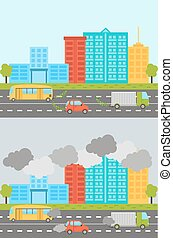 Ecology city landscape set with air soil pollution charts...