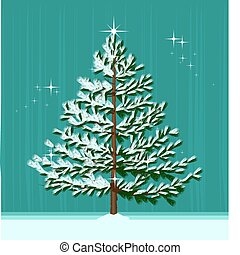 Christmas Tree - Isolated Christmas Tree on abstract