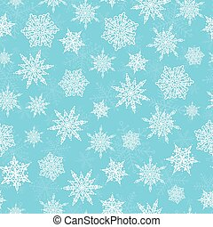 Vector blue white hand drawn christmass snowflakes repeat...