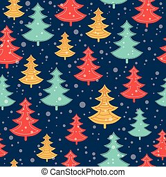 Vector blue, red, and yellow scattered christmas trees...