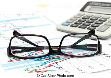 Desktop Budget - a house hold budget with glasses and...