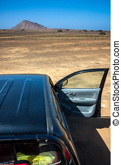 Traveling desert by car. Cape Verde. Road to Buracona near...