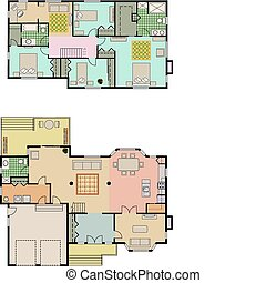 House plans - Vector drawing of 4 bedroom house It shows the...