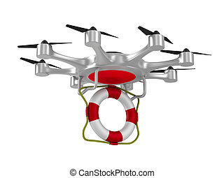 octocopter with lifebuoy on white background. Isolated 3d...