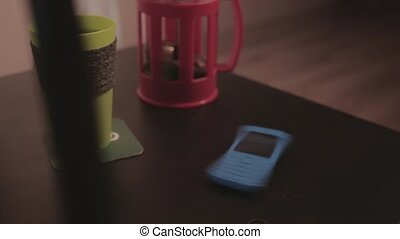 mobile phone rotates on the table