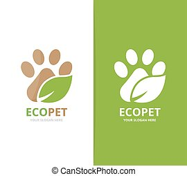 Vector paw and leaf logo combination. Pet and eco symbol or...
