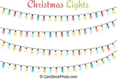 Christmas Lights - Colorful Christmas lights, white...
