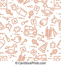 Cute seamless pattern with variety of children's toys:...