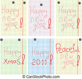set of Greetings with new years