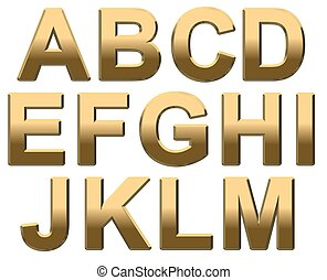 Gold Text - Gold letters on a white background