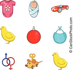 Childs play icons set, cartoon style - Childs play icons...