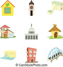 City center icons set, cartoon style - City center icons...