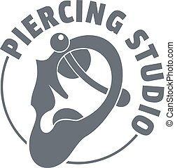 Piercing logo, simple gray style - Piercing logo. Simple...