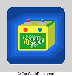 Car battery concept background, cartoon style - Car battery...