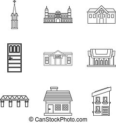 Edifice icons set, outline style - Edifice icons set....