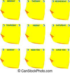 Days of the week on yellow note pap
