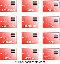 red tag and sticker set bar code