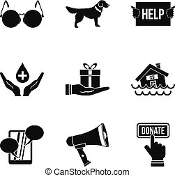 Charitable foundation icons set, simple style - Charitable...