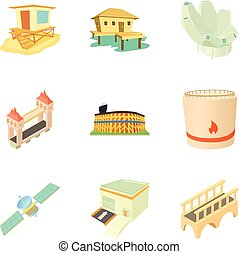 Outskirt icons set, cartoon style - Outskirt icons set....