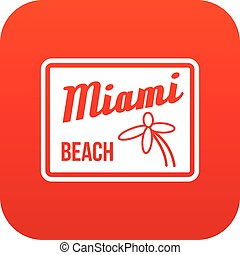 Miami beach icon digital red for any design isolated on...