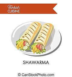 Delicious Turkish shawarma with fresh vegetables and cheese...