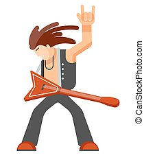 Rock musician with long hair in leather clothes with guitar...
