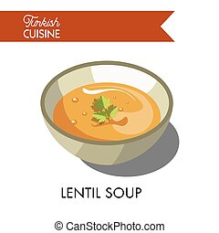 Turkish lentil soup with parsley in deep bowl isolated...