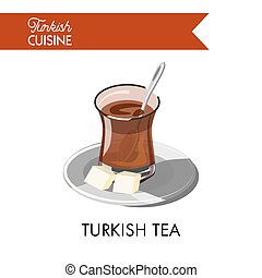 Turkish tea in unusual transparent glass with sugar cubes -...