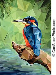 Kingfisher Low Poly - Illustration of a Kingfisher - Low...