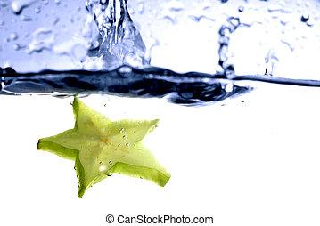 carambola splash fruit freshness background