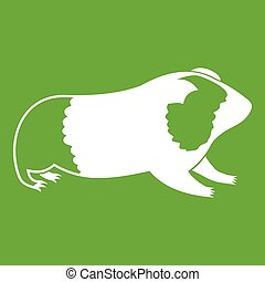 Hamster icon green - Hamster icon white isolated on green...