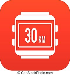 Speedometer bike icon digital red for any design isolated on...