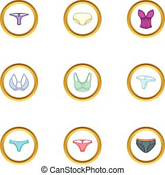 Female linen icons set, cartoon style - Female linen icons...
