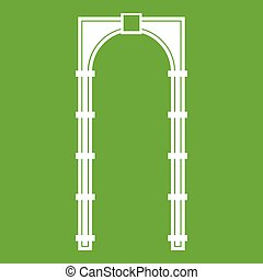 Arch icon green - Arch icon white isolated on green...