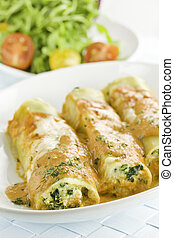 pasta and salad - Pasta cannelloni with spinach and ricotta...