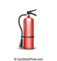 Fire extinguisher protection isolated. Red fire extinguisher...