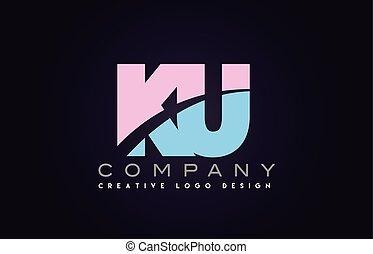 ku alphabet letter join joined letter logo design - ku...
