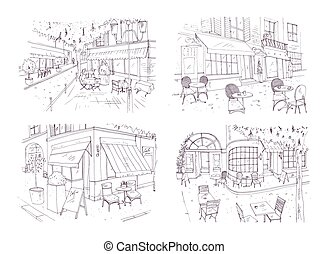 Collection of freehand sketches of outdoor cafe or...