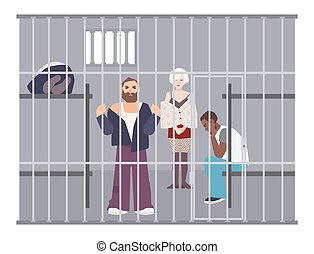 Criminals in cell at police station or jail. Prisoners...