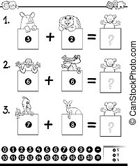 addition educational game coloring book - Black and White...