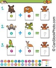cartoon addition educational game with animals - Cartoon...