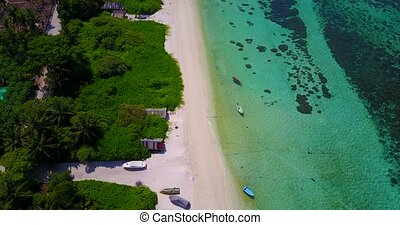 v05324 Aerial flying drone view of Maldives white sandy...