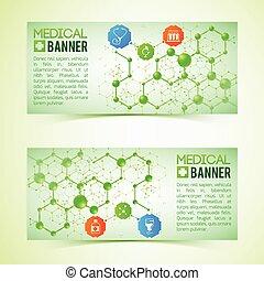 Pharmaceutics And Pharmacy Horizontal Banners Set -...