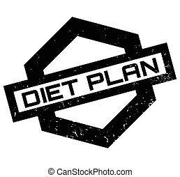 Diet Plan rubber stamp. Grunge design with dust scratches....