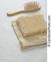 two objects on white towel